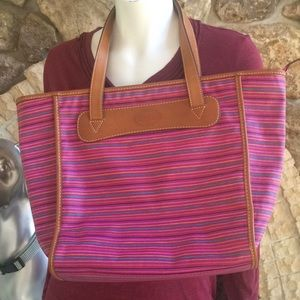 Fossil Striped Zipped Tote